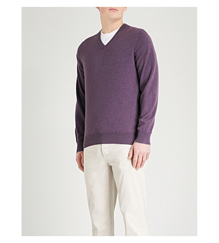 BRUNELLO CUCINELLI V-neck cashmere sweater (Violet+grey