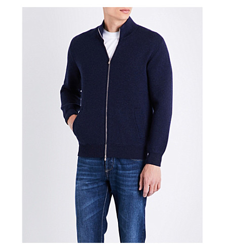 BRUNELLO CUCINELLI zip-up cashmere bomber jacket (Navy