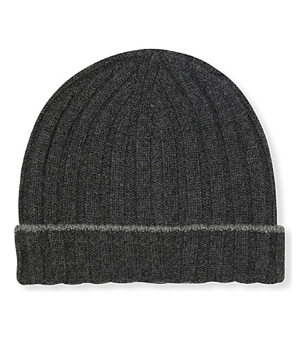 BRUNELLO CUCINELLI Contrast-trim ribbed cashmere beanie hat (Charcoal