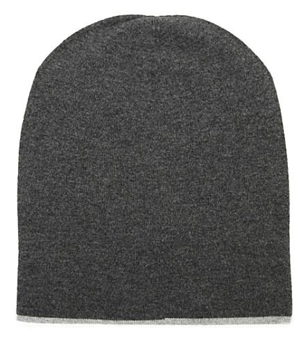 BRUNELLO CUCINELLI Contrast-trim fold-over cashmere beanie hat (Greys