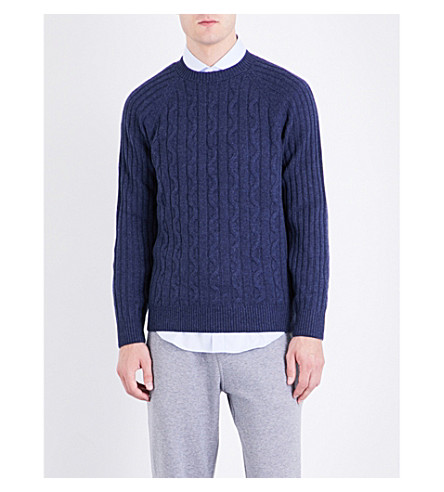 BRUNELLO CUCINELLI Cable-knit cashmere knitted jumper (Mid+blue