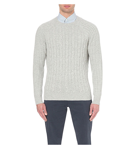 BRUNELLO CUCINELLI Cable-knit cashmere knitted jumper (Pearl