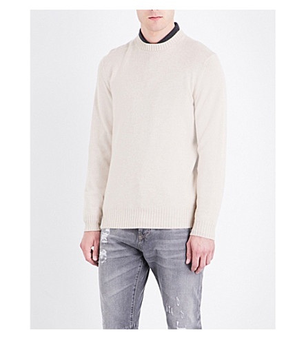 BRUNELLO CUCINELLI Ribbed-collar cashmere sweater (Cream