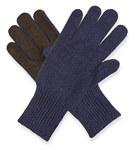 BRUNELLO CUCINELLI Knitted cashmere and suede gloves (Blue