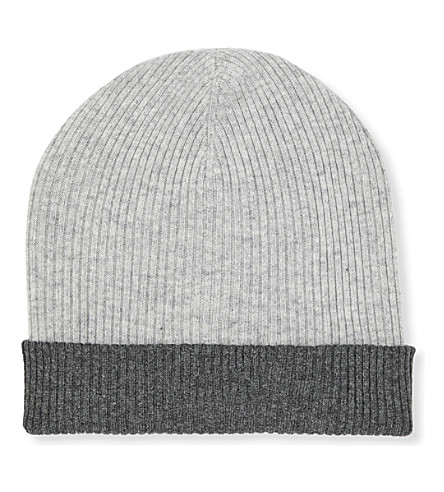 BRUNELLO CUCINELLI Contrast-trim reversible ribbed cashmere beanie (Light+grey/grey