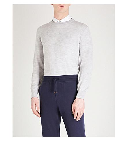 BRUNELLO CUCINELLI 圆领羊毛和羊绒跳线 (浅灰色
