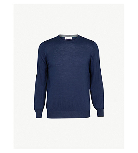 BRUNELLO CUCINELLI Crewneck wool and cashmere jumper (Prussian+blue