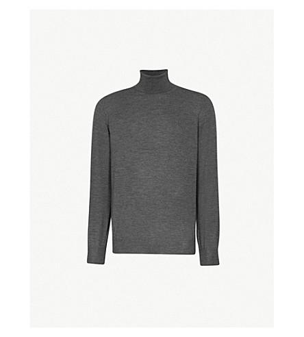 BRUNELLO CUCINELLI 高领羊毛和羊绒混纺毛衣 (炭