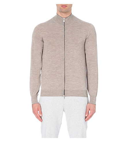 BRUNELLO CUCINELLI Zip-up wool and cashmere-blend cardigan (Beige