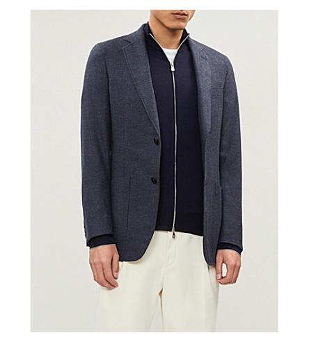 BRUNELLO CUCINELLI Zip 羊毛和羊绒混纺开襟衫 (蓝色 + 海洋