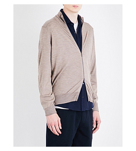 BRUNELLO CUCINELLI Zip-up wool and cashmere-blend cardigan (Brown