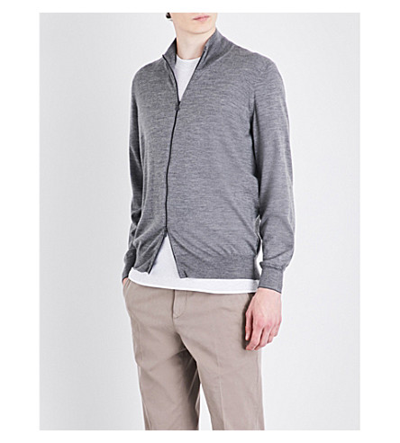 BRUNELLO CUCINELLI 拉链羊毛和羊绒混纺开衫 (灰色