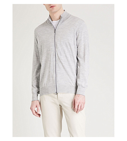 BRUNELLO CUCINELLI Zip-up wool and cashmere-blend cardigan (Light+grey