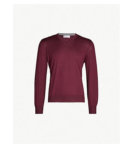 BRUNELLO CUCINELLI V-neck wool and cashmere jumper (Burgundy