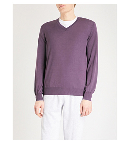 BRUNELLO CUCINELLI V-neck wool and cashmere sweater (Grape