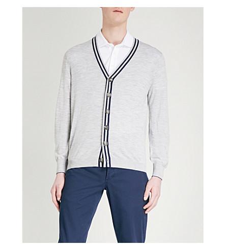 BRUNELLO CUCINELLI Striped wool and cashmere-blend cardigan (Beige+blue+grey