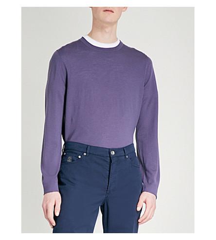 BRUNELLO CUCINELLI Crewneck wool and cashmere-blend jumper (Cream+purple