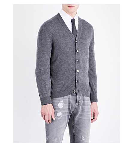 BRUNELLO CUCINELLI V-neck wool and cashmere-blend cardigan (Dark+grey