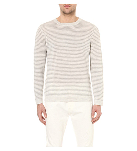 BRUNELLO CUCINELLI Striped wool and cashmere-blend sweater (Fog+med+grey