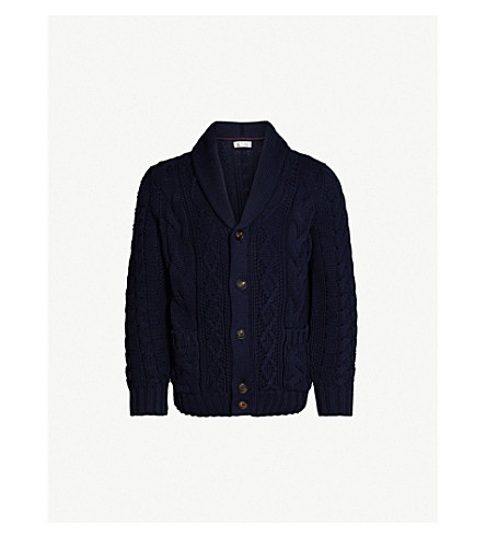BRUNELLO CUCINELLI Cable-knit cotton cardigan (Navy