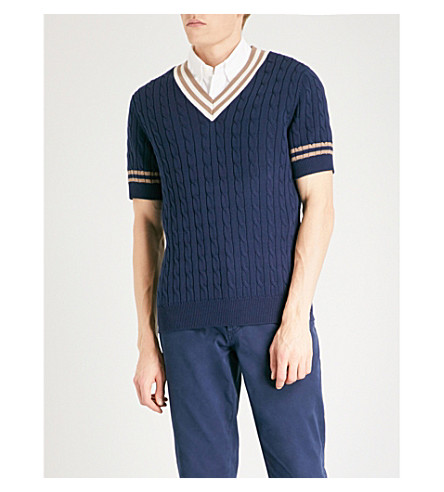 BRUNELLO CUCINELLI V-neck cable-knit cotton jumper (Prussian+blue