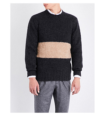 BRUNELLO CUCINELLI Contrast-panel alpace-blend jumper (Charcoal+brown