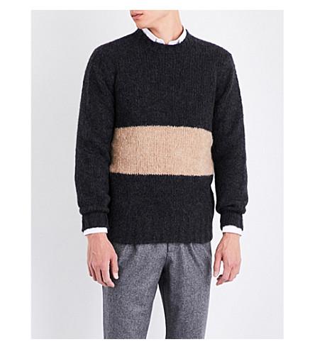 BRUNELLO CUCINELLI Contrast-panel alpace-blend jumper (Charcoal+brown