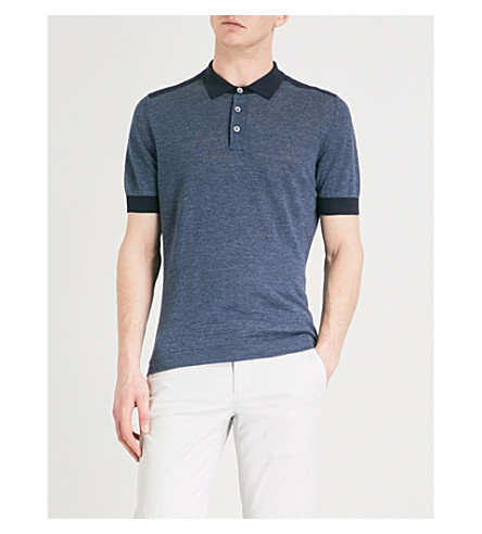 BRUNELLO CUCINELLI Two-tone knitted polo shirt (Blue+navy