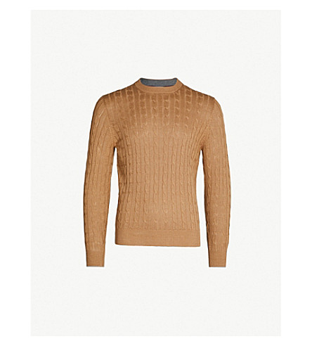 BRUNELLO CUCINELLI Cable-knit wool and cashmere-blend jumper (Caramel