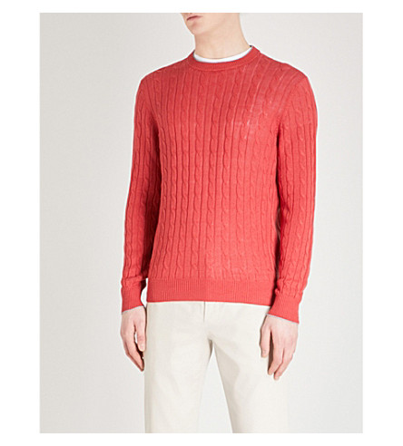 BRUNELLO CUCINELLI Cable-knit wool and cashmere-blend jumper (Strawberry