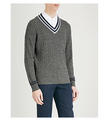 BRUNELLO CUCINELLI Striped knitted jumper (Grey