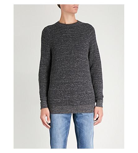 BRUNELLO CUCINELLI Crewneck chunky-knit cotton jumper (Grey+brown