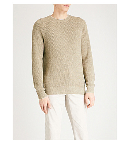 BRUNELLO CUCINELLI Crewneck chunky-knit cotton jumper (Military+green