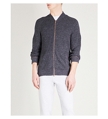 BRUNELLO CUCINELLI Marled cotton bomber jacket (Grey