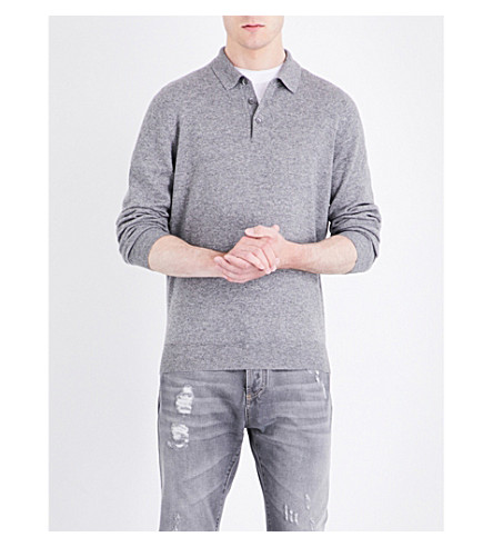 BRUNELLO CUCINELLI Regular-fit wool-blend polo shirt (Grey
