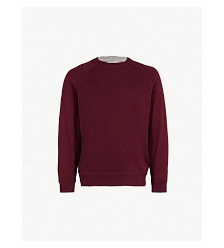 BRUNELLO CUCINELLI 圆领羊绒混纺毛衣 (勃艮第