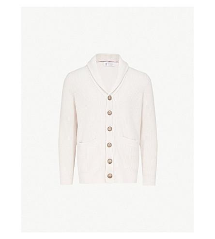 BRUNELLO CUCINELLI 针织羊毛和羊绒混纺开襟衫 (奶油