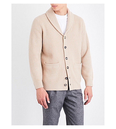 BRUNELLO CUCINELLI Shawl-lapel wool, cashmere and silk-blend cardigan (Beige