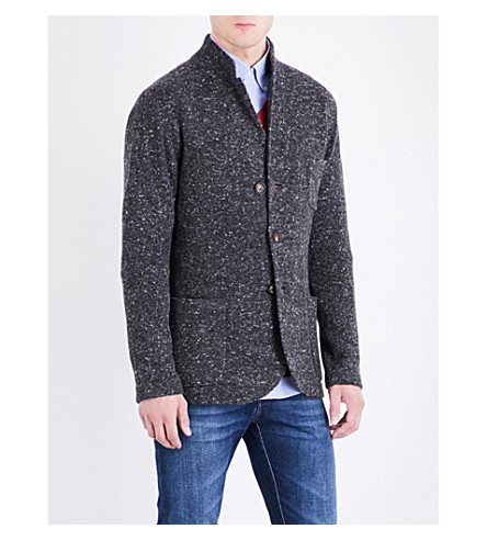 BRUNELLO CUCINELLI Waffle knit wool-blend jacket (Charcoal