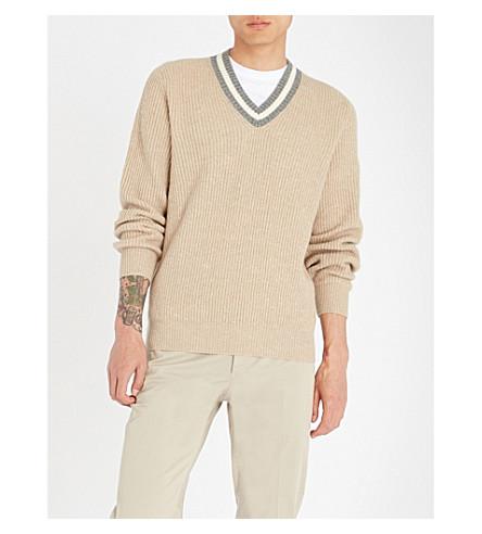 BRUNELLO CUCINELLI Flecked V-neck wool and cashmere-blend jumper (Beige