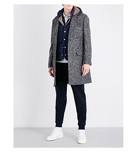 BRUNELLO CUCINELLI Houndstooth-patterned alpaca and wool-blend coat (Grey