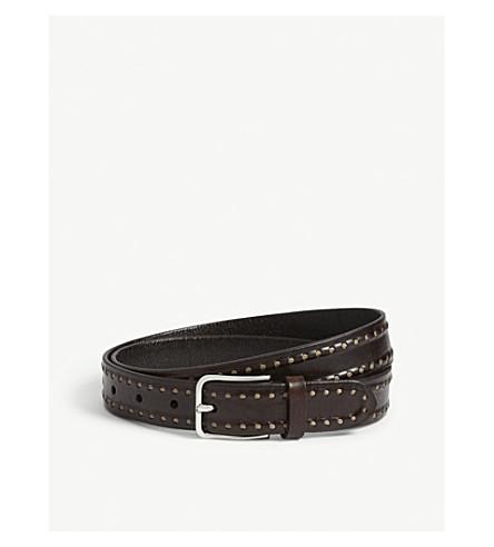 BRUNELLO CUCINELLI Stitch detail leather belt (Brown
