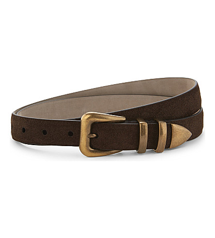 BRUNELLO CUCINELLI Slim suede belt (Brown