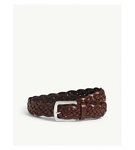 BRUNELLO CUCINELLI Braided leather belt (Brown
