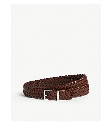 BRUNELLO CUCINELLI Woven leather belt (Brown