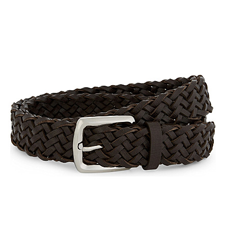 BRUNELLO CUCINELLI Woven leather belt (Brown