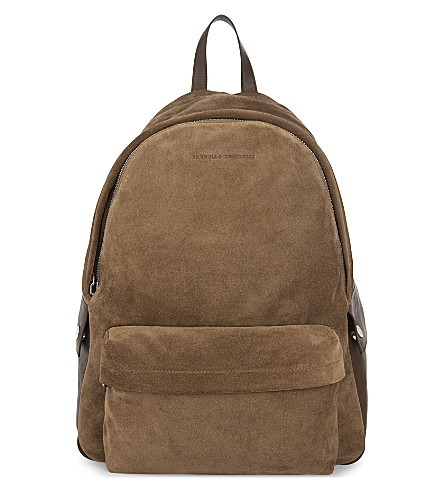 BRUNELLO CUCINELLI Suede and leather backpack (Tan