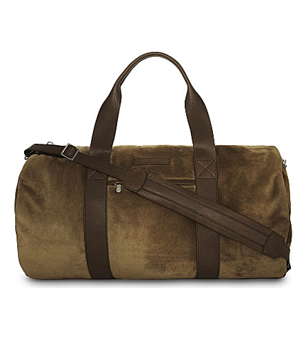 BRUNELLO CUCINELLI Suede barrel bag (Tan