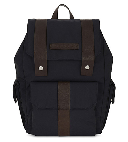 BRUNELLO CUCINELLI Nylon and leather backpack (Navy