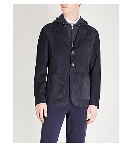 BRUNELLO CUCINELLI Layered suede jacket (Navy